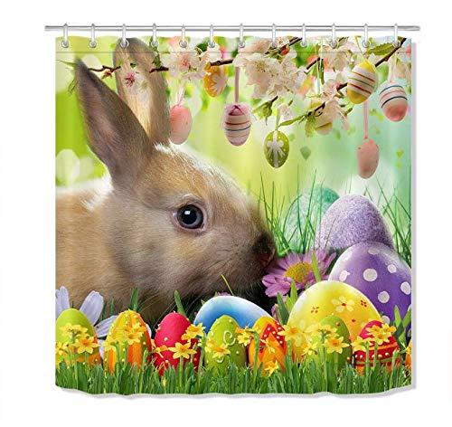 DHLZ Blumen Bunte Eier Ostern Duschvorhang Set Wasserdichtes Gewebe Bad Haken 180 * 200 cm