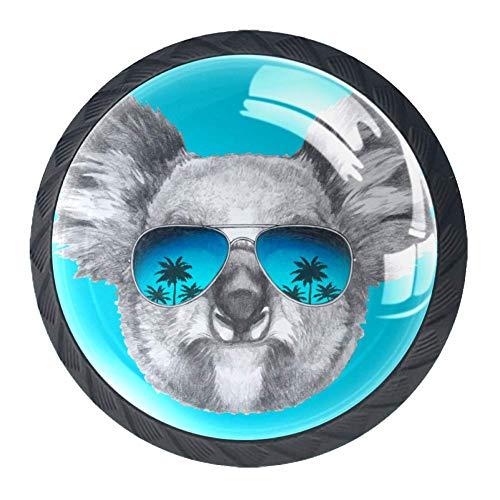 Koala Spiegel-Sonnenbrille, 4 Stück, ABS-Knöpfe, Schranktürknöpfe, schwere Knöpfe, silberfarben, Küchenzubehör für Badezimmer, Schublade