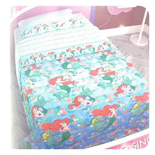 Alfionapoli Colcha acolchada Disney para cama individual de 1 plaza Ariel Sirenita