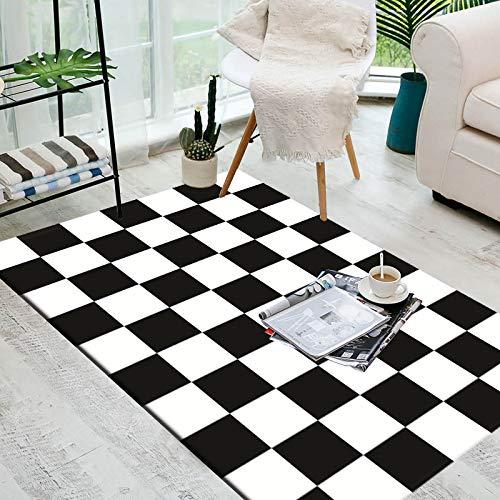 LMDY Alfombra patrón geométrico en Blanco y Negro Sala de Estar a Cuadros Alfombra de Estilo Moderno Mesa de Centro Alfombra para Puerta de Entrada para Dormitorio Alfombra para baño80*120cm