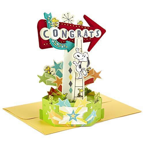 Hallmark Paper Wonder Peanuts Pop Up Congratulations Card (Snoopy and Woodstock Congrats)