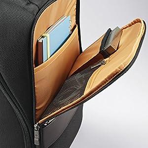 Samsonite Kombi Small Business Backpack with Smart Sleeve, Black/Brown, 16.25 x 10.5 x 5-Inch