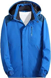 SOMESHINE Rain Jackets Men's Waterproof Lightweight Raincoat Detachable Hooded Outdoor Hiking Jacket Windbreaker Trench Coat