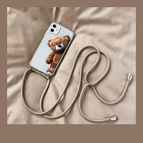 LIUYAWEI Cordón Protector de la cáscara Protectora de la Cuerda Oblicua Anti-caída del Oso Lindo de Moda Anti-perdida para iPhone 11 12 Pro MAX X XS XR