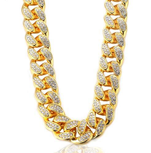 Kubanische Kette Herren Iced Out,20MM Herren Goldkette Miami 18 Karat Echt Vergoldet Halsband Halskette 60cm,Volle Cz Diamant Schnitt Zinken-Set,Geschenk für Ihn