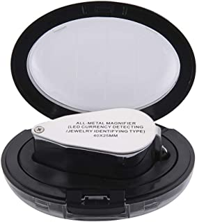 40X 25mm All Metal Magnifier Jeweler LED UV Lens Magnifying Glass Pocket Foldable Jewelery Eye Loupe (LED Currency Detecti...