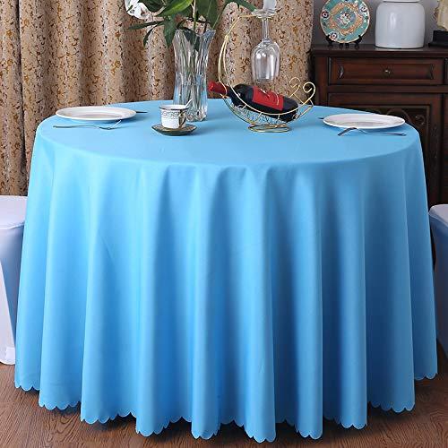 DJUX Mantel de algodón y Lino Mantel de Restaurante Hotel Banquete Mesa Redonda Redonda Mantel Blanco Impermeable y a Prueba de Aceite 180cm
