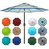 Blissun 9' Outdoor Aluminum Patio Umbrella, Striped...