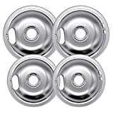 Beaquicy W10196405 and W10196406 Chrome Drip Pan- Replacement for Kenmore and Whirlpool Range - 4 Pack