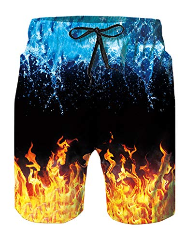 Leapparel Mens Swim Trunks Yellow Flame Blue Spray...