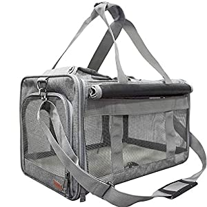 BELPRO Cat Carriers Dog Soft-Sided Carriers with 2 Curtains, Pet Carrier Bag Airline Approved for 15 Lbs Puppies/Kitten, 5 Mesh Windows, 1 Large Pocket for Comfortable Travelling (Light Grey)