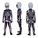 baozhi Skeleton Costume Scary Costumes Boys Halloween Costumes Bodysuit for Kids (7-8T(Height49.2-53.1 Inch)), Black and White …