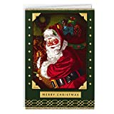 This boxed set of festive Christmas cards contains everything you need to send warm wishes to friends and family this holiday season. Holiday cards feature Santa carrying his bag of presents, and a green border accented with gold foil and glitter. In...