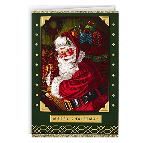Hallmark Boxed Christmas Cards, Green and Gold Santa Claus (12 Cards and 13 Envelopes) (5XPX9452)