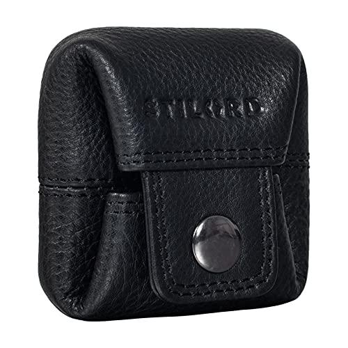 STILORD 'Claron' Mini Cartera Cuero Monedero Vintage Billetera Pequeña para Hombre Mujer Slim Wallet para Cambio de Monedas de Piel Autentica, Color:Negro