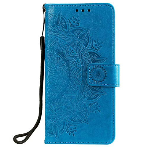 Draamvol - Funda para Samsung Galaxy A42 5G, diseño de mandala en relieve de piel sintética con tapa magnética para Samsung Galaxy A42 5G, color azul