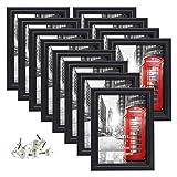 Amazon Brand - Umi Marcos de Fotos Multiples de 10x15 para Pared y Mesa, Conjunto de Portafotos de Negro, Diseño Sencillo, Set de 12