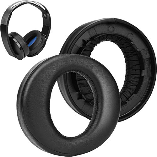SOULWIT Headphones Ear Pads Cushions Replacement, Earpads Compatible with Sony Platinum Wireless Playstation PS4 Headset, 2018 Version, Model CECHYA-0090 (Black)