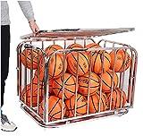 SSZY Estante de Pelota Carro de Almacenamiento de Pelotas Deportivas con Ruedas Grandes, Jaula de Bolas Apilable Plegable de Acero Organizador de Equipos Deportivos, para Baloncesto Fútbol