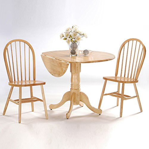 International Concepts 3-Piece 42-Inch Dual Drop Leaf Pedestal Table with 2 Windsor Chairs, Natural Finish