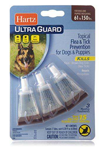 Hartz UltraGuard Flea & Tick Drops for Dogs & Puppies 61-150lbs - 3 Monthly Treatment
