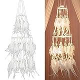 Yinuoday Atrapasueños de Plumas Blancas con luz led de Hadas decoración para Colgar en...