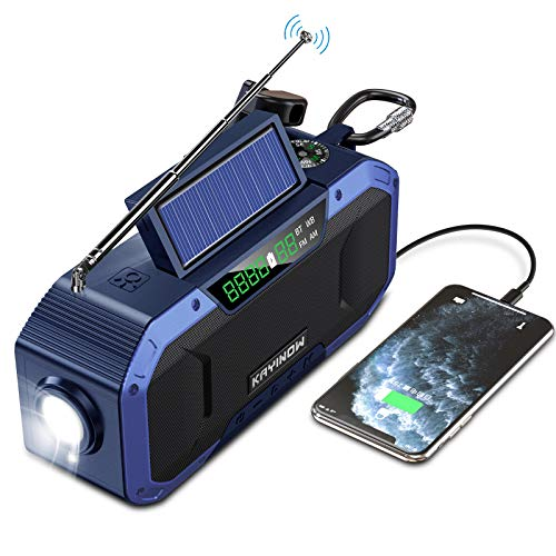 Hand Crank Emergency Weather Radio w/Bluetooth Speaker - 5000mAh Portable NOAA WB AM FM Radio, IPX6 Waterproof Solar Radio for Home Camping Hurricane, SOS Alert, Cell Phone Charger, Flashlight