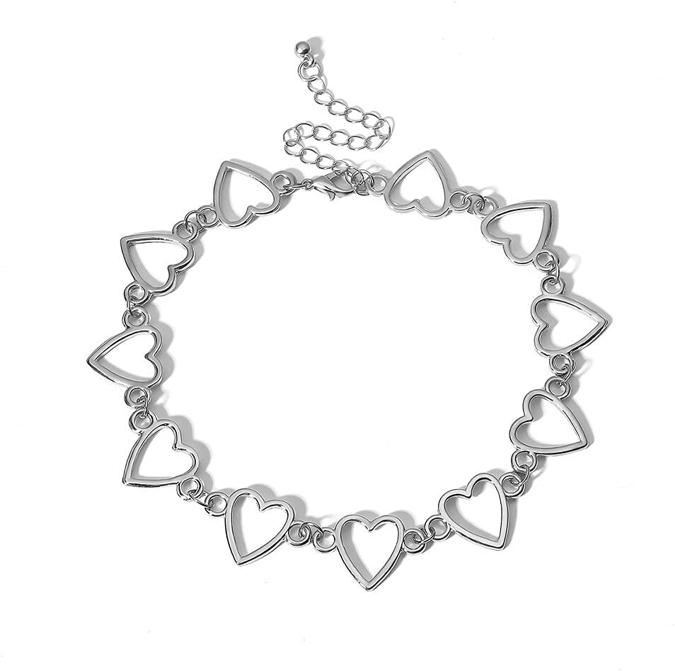 Korean Style Kpop Sweet Small Love Heart Choker for Women Girl Necklace Collar Gothic Aesthetic Simple Jewellery Party Gift