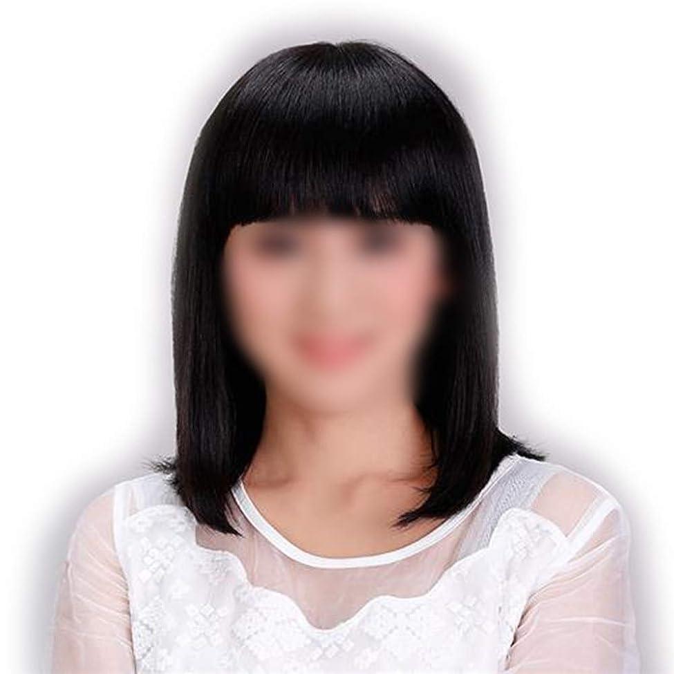 タヒチ迷惑無知Yrattary レディースショルダーストレートヘア前髪付きリアルナチュラルスウィートフルウィッグコンポジットヘアレースウィッグロールプレイングウィッグロング&ショート女性自然 (色 : Natural black)
