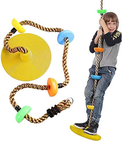 KAFITE Cuerda de Escalada de árbol con Plataforma y Disco Asiento de Swing con Soporte de pie Plataforma abatible Escalada Escalada Escalera para niños Árbol al Aire Libre Patio Trasero Swing