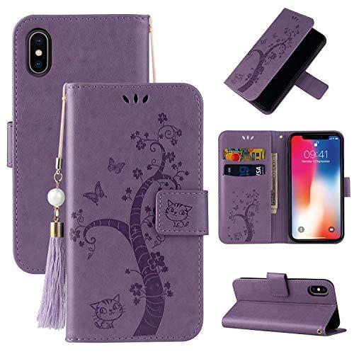 Miagon Brieftasche Flip Hülle für iPhone XR,Schön Schmetterling Baum Katze Design PU Leder Buch Stil Stand Funktion Handyhülle Case Cover,Lila