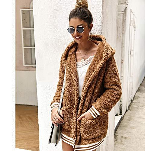 Strickjacke Damen Cardigan Frauen Baumwolle Fluffy Langarm Jacke Damen Warme Oberbekleidung Strickjacke Mantel M Khaki