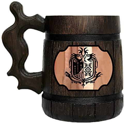 Monster Hunter World Wooden Beer Mug. Gamer Gift. MHW Beer Mug. Gamer Mug. Monster Hunter Tankard. Gift For Him. Beer Stein Wood #108/0.6L / 22 ounces
