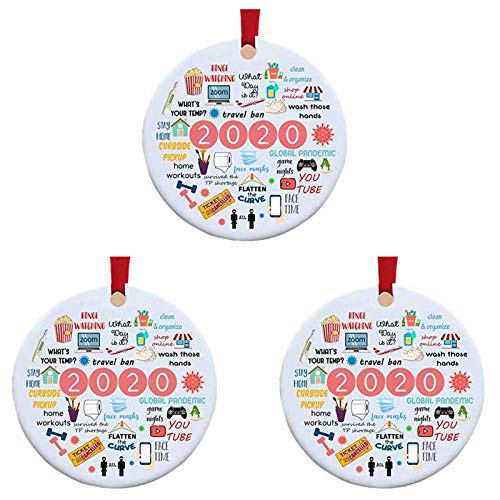 Price comparison product image Pandemic Christmas Ornament 2020 - Funky Step 2020 Ornament - 2020 A Year to Forget - 2020 Annual Events Christmas Ornament - Remember 2020 Christmas Ornament Quarantine Events Keepsake (3pcs)