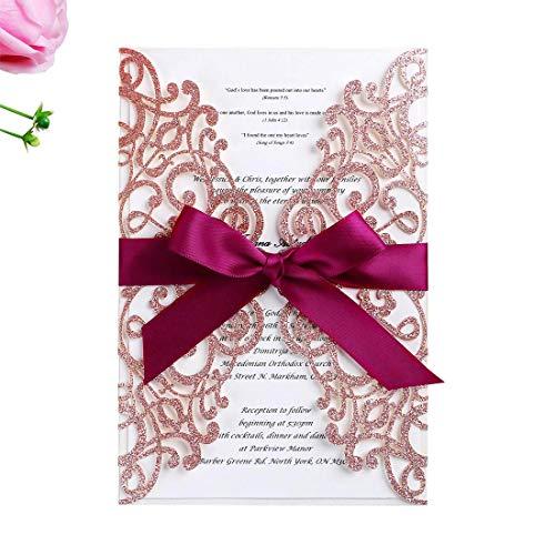 WISHMADE 20x Hochzeit EinladungsKarten Für Lasercut Hochzeitskarten Engagement Geburtstag Bridal Shower inkl Umschläge (Rose Gold Glitter)