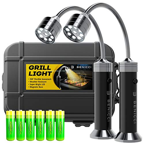 Benicci Flexible LED BBQ Grill Lights Set of 2 - The Perfect Grilling Accessories Light with 360-Degree Magnetic Base and Gooseneck - 100% Portable Weatherproof Outdoor Lamp w/Batteries Included