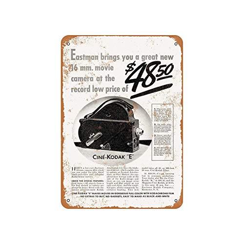 Fhdang Decor 1937 Eastman Kodak 16 mm Filmkameras Vintage Look Metallschild Aluminium Schild, metall, multi, 6x9 inches