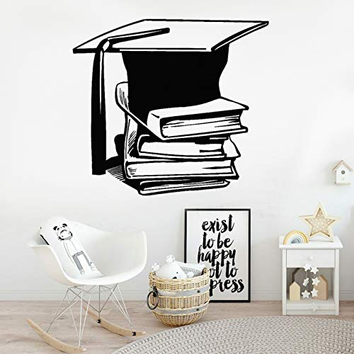 SUPWALS Books Wall Decal Library Science School Art Decoration Academic Cap Vinyl Wall Stickers Home Decor Nursery Children Room