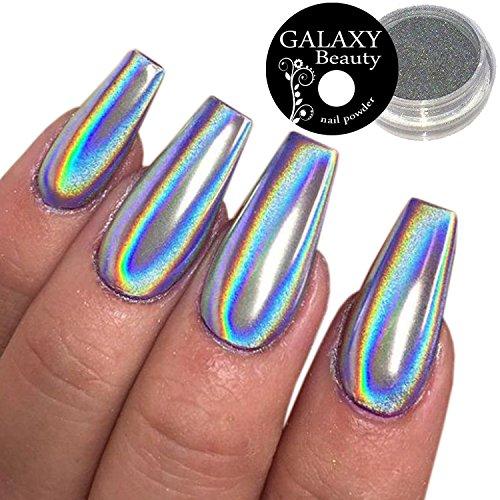 Galaxy Beauty, polvere per unghie olografica, a motivo arcobaleno e unicorni, effetto specchiato, argento cromato, 1g
