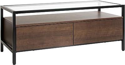 宮武製作所 テレビボード Vincent 幅97×奥行40×高さ39.5cm、引き出し内寸:40.2×33×14.5㎝ ブラウン 強化ガラス天板 スチールフレーム TV-1040