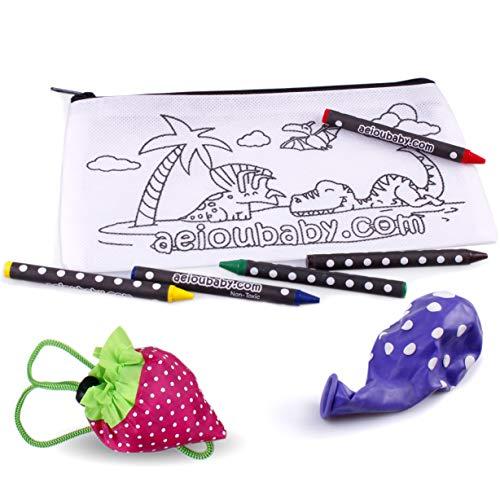aeioubaby.com 25 Estuches para Colorear + 1 Bolsa Reutilizable | 25 Bolsas Individuales con 5 Ceras de Colores y Globo | Regalo niños Fiestas y cumpleaños