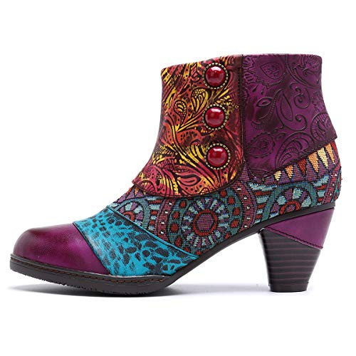 RSHENG Damen Stiefel neue Mode handgefertigte Nähte ethnischen Stil mongolischen Element böhmischen Blume Spleißen Leder seitlichem Reißverschluss Damen auf Outdoor Wanderschuhe