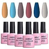 AIMEILI UV LED Gellack mehrfarbig ablösbarer Matte Gel Nagellack Set Gel Nail Polish Kit - 6 x 10ml - Set Nummer 33