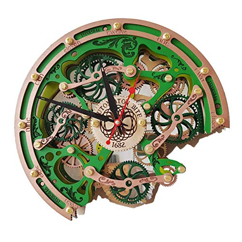 Automaton Bite 1682 Celtic Irish Wall Clock, Handcrafted Steampunk Decor, Mechanical moving Gears, Wooden Home Kitchen Living Room and Office interior design, Personalized Decorative Art, Custom Gift