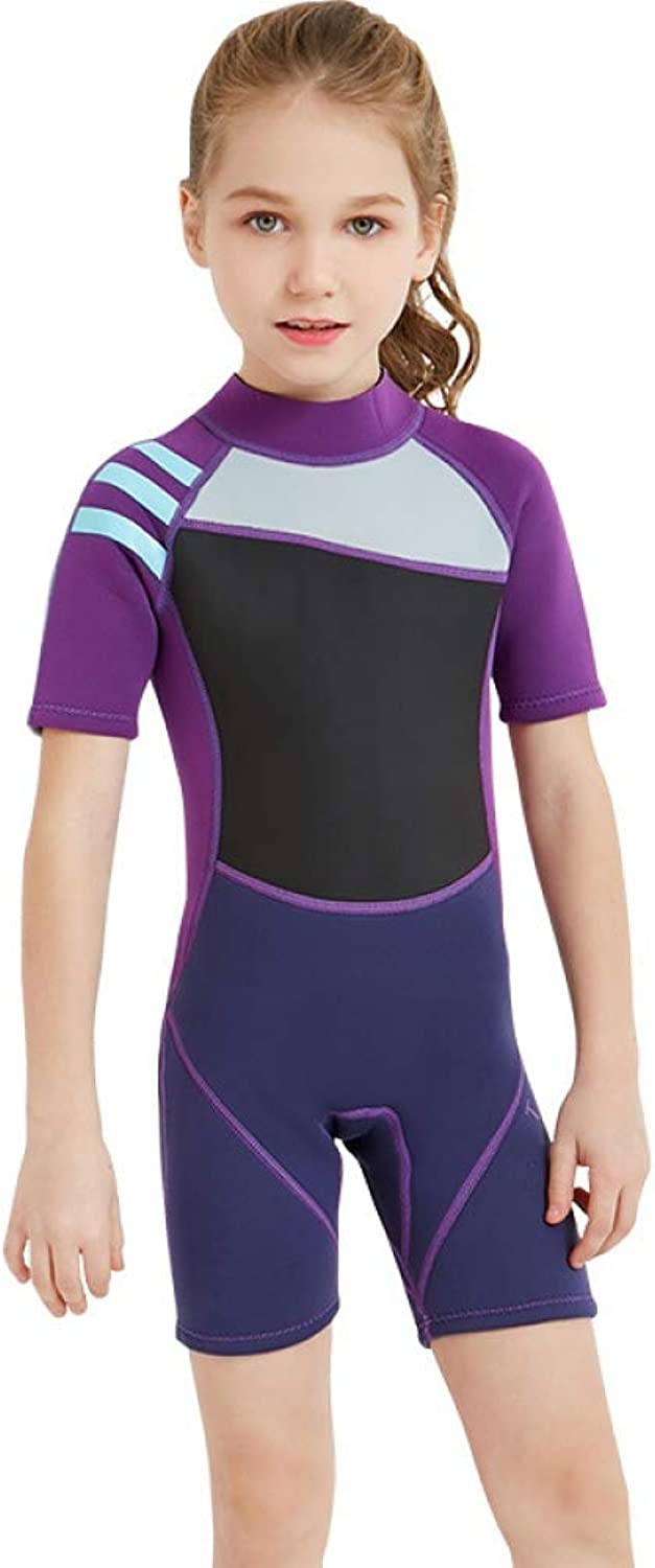 QSFDM Wetsuit 2.5MM Neoprene One-piece Girls Short Wetsuits Scuba Diving Suits Anti-UV Keep Warm Swimsuit Surf Snorkeling Suits