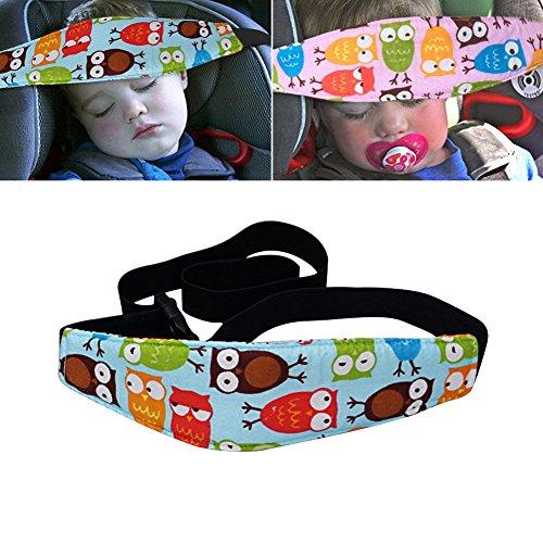 GEEDIAR Cinghia auto per Bambini di Sicurezza, Cintura per Dormire in sicurezza, Protezione Testa Comfort per Bambino con Supporto Testa ( Blue Owl)