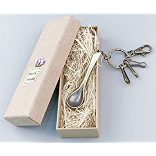 eMosQ Classic Vintage Metal Brass Creative Handmade Keychains Beautifully Gift Boxed (spoon - antique bronze)