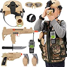 Kids Army Soldier Military Combat Marines Halloween Costume, Deluxe Dress Up Role Play Set with Helmet, Monocular, Guns, Accessories (11 Pcs)