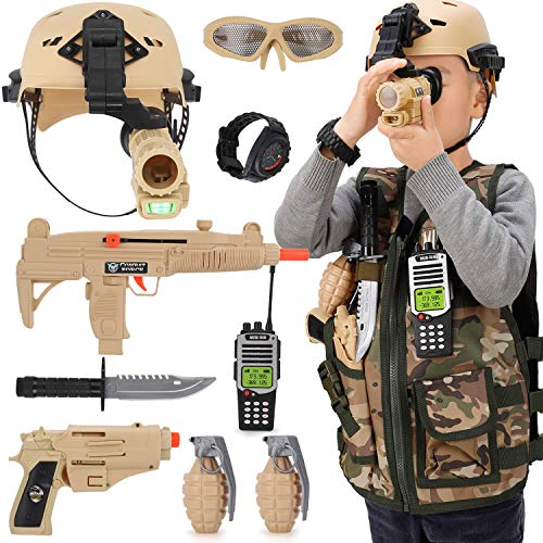Kids Army Soldier Military Combat Marines Halloween Costume Deluxe Dress Up Role Play Set with Helmet Monocular Guns Accessories 11 Pcs