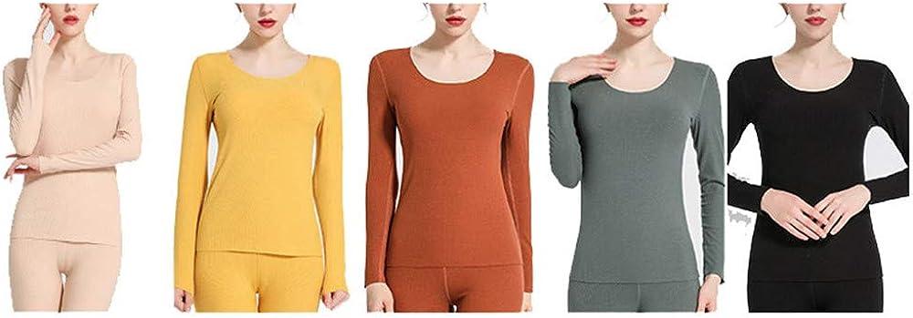 Fleece Thermal Underwear for Women Long Johns Set Fleece Lined Ultra Soft Scoop Neck